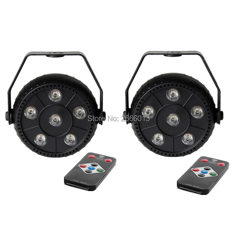 2pcs/lot Wireless Remote Control 6X3W RGB 3in1 LED Par Light Mini LED Flash Magic Effect Uplight Stage Light For DJ Disco Party
