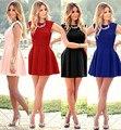 Hot Nova 2016 Verão Vestido Ocasional Do Vintage Magro Babados Rosa Vermelho Preto Vestido da Elegância Das Mulheres Qualidade Vestido de vestidos de Festa Vestidos