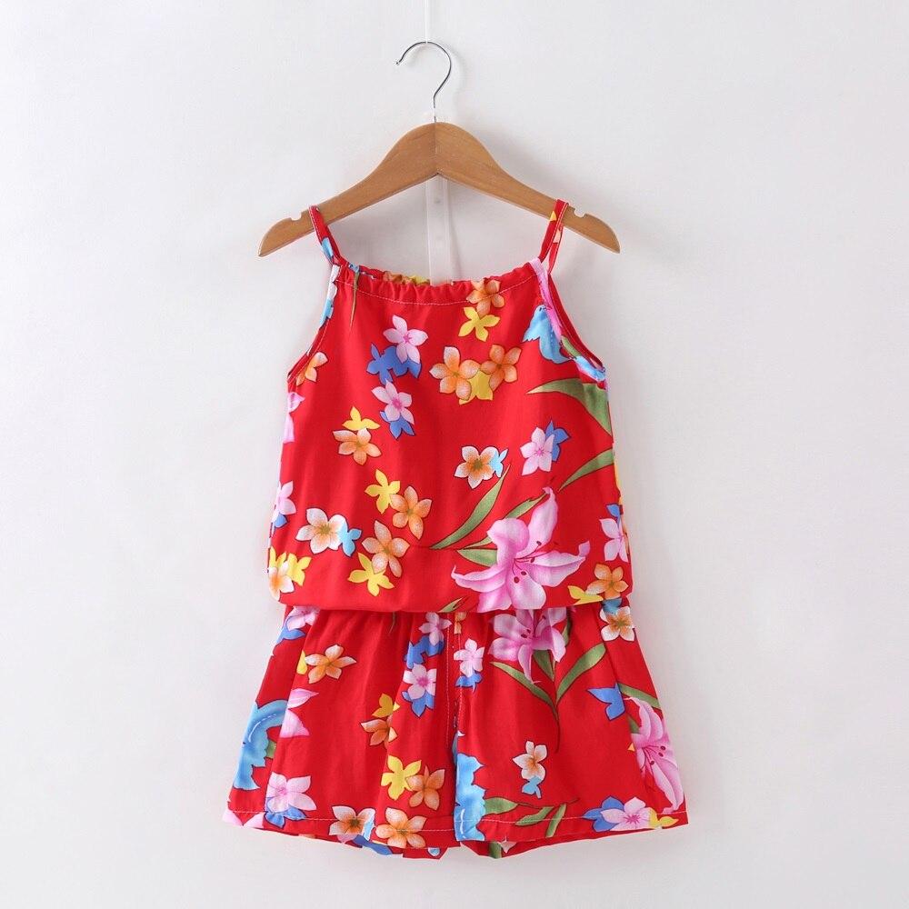 בגדים חדשים תינוקת חליפת קיץ בנות יפה Loose פרחוני מודפס סטי וסט + מכנסיים קצרים 2 תמונות בגדי Bebe בנות חליפות מקרית סט