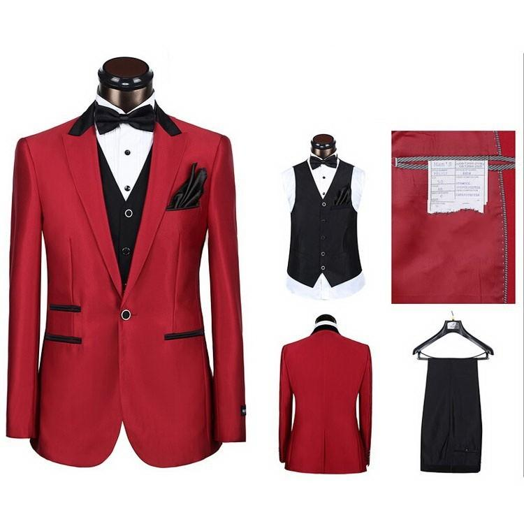 a125156e8 US $98.0 |New One Button Groom Tuxedos Peak Lapel Best man Suit Big Red  Groomsman/Bridegroom Wedding/Prom Suits (Jacket+Pants+Tie+Vest)-in Suits  from ...
