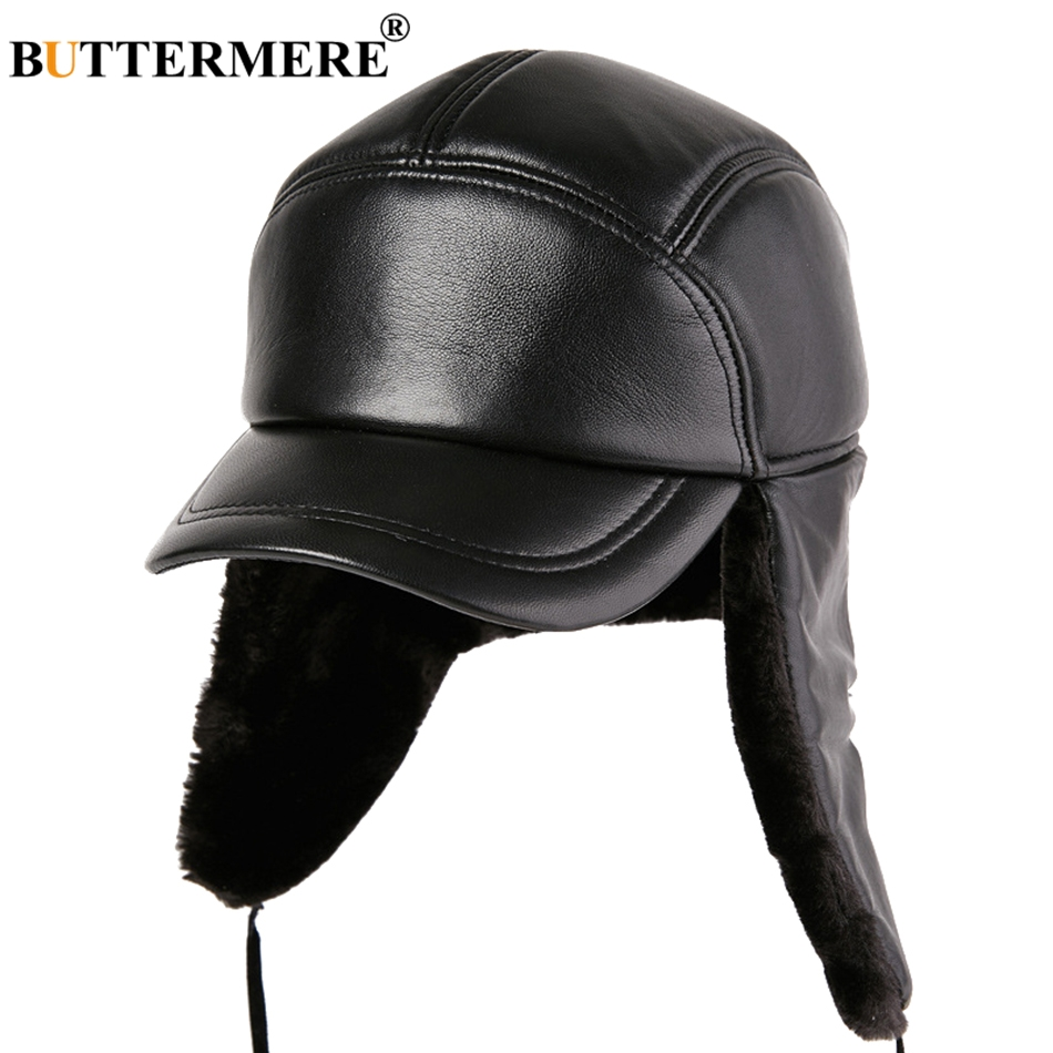 74569ee5467 BUTTERMERE Bomber Hat Leather Black Men Ushanka Hats With Earflap Thicker Russian  Hats Winter Warm Genuine