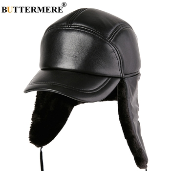 BUTTERMERE Bomber Hat Leather Black Men Ushanka Hats With Earflap Thicker Russian Winter Warm Genuine Male Fur Caps