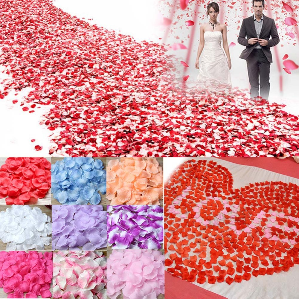 Ourwarm 1000pcs Wedding Flowers Silk Rose Petals Real Touch