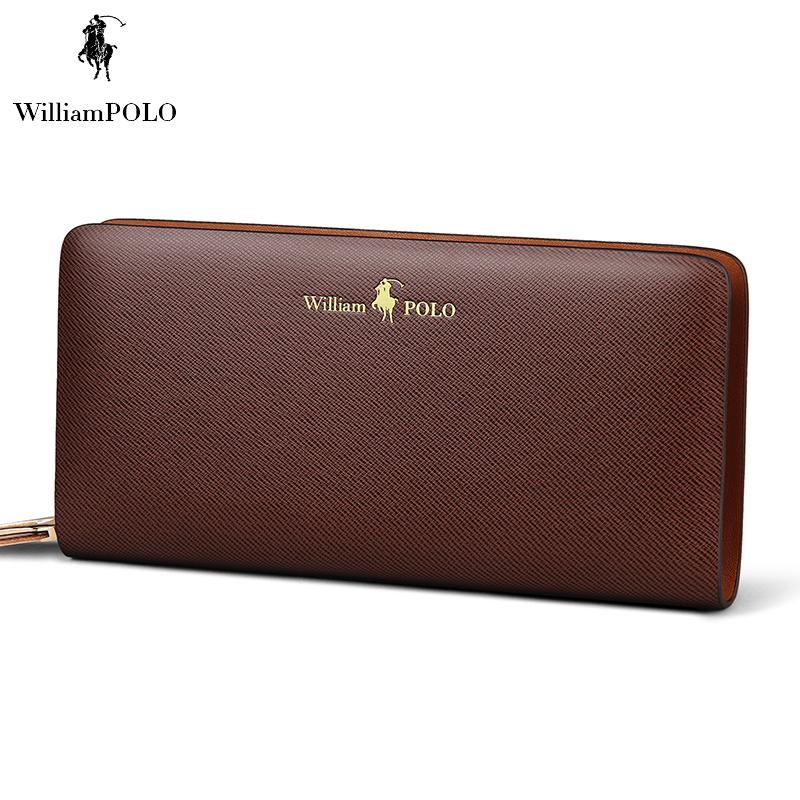 ФОТО Promotion 2017 WilliamPOLO High Quality Water Proof Leather Wallet Male Wallet Card Holder With Gift Box POLO118