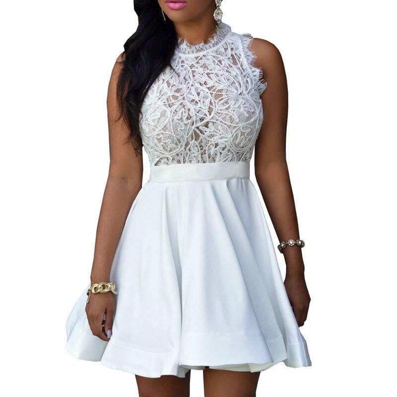 2c7bad5d64 2017 Summer Women's Dresses Wholesale Sexy Crochet Lace Pleated Skater  Dress Black White Patchwork Casual Lace Dresses S2797
