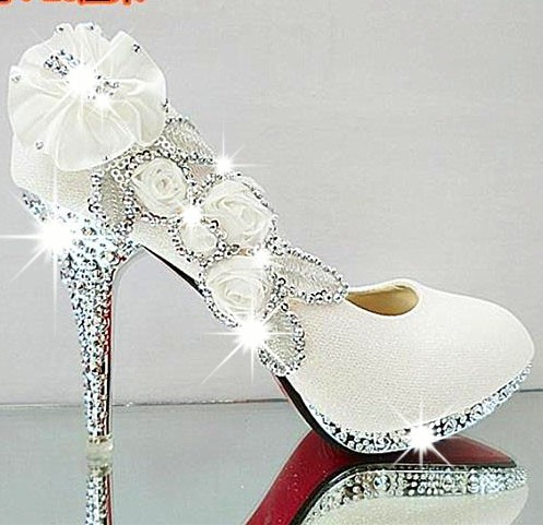 2016 new sparkling flowers diamond white wedding dress shoes womens lady bridal 10cm high heeled