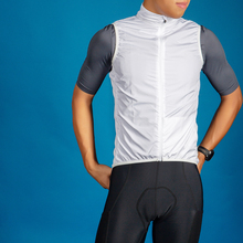 SPEXCEL all white pro team cycling windproof gilet vest lightweight  mesh fabric at back