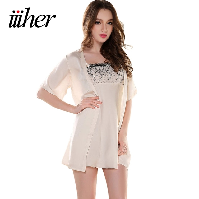 iiiher High Quality Sexy Women Silk Nightgown Robe Set Strap Dress + Robe Sleepwear Two Piece Female Nightwear Autumn Winter
