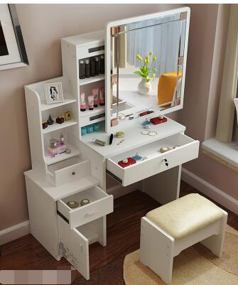 Makeup cabinet table. The multi-function.. European makeup chair. the silver chair