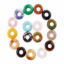 Gros 50pcs Lot mixte pierres précieuses perles en vrac rond grand trou circulaire entretoise Bracelets 10*4mm pour la fabrication de bijoux