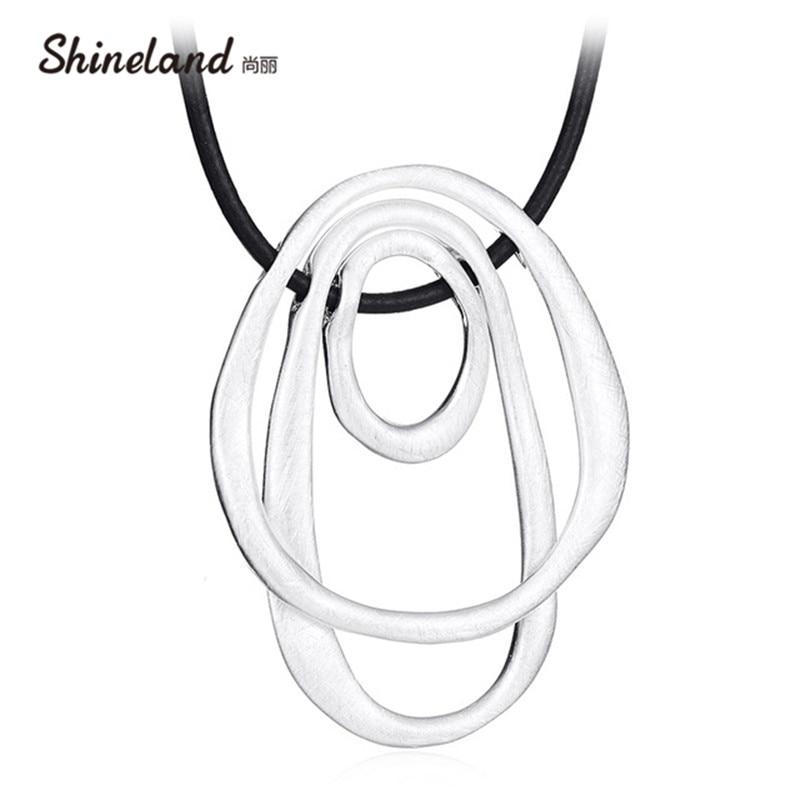 Shineland Hot Sale Statement Necklaces & Pendants Collier Femme Hollow Geometric Double Side 2 Style Vintage Bijoux Party Gift