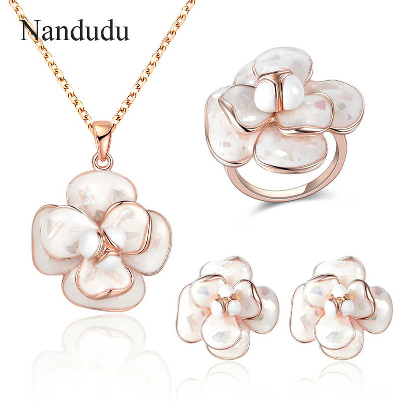 Nandudu Blooming Enamel Flower Pendant Necklace Ring Earrings Jewelry Sets Women Girl Whole Set Jewelry Gift R681 E36 CN255
