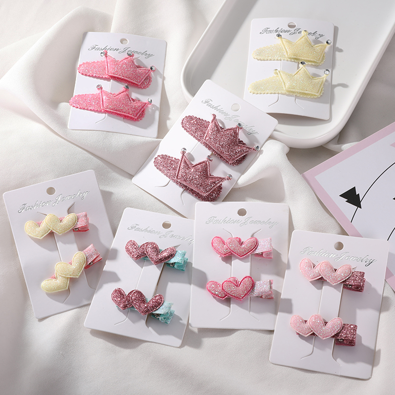 New 2PCS/Set Fashion Girls Cute Shining Heart Flower Crown Hairpins Children Barrettes Headbands   Headwear   Kids Hair Accessories