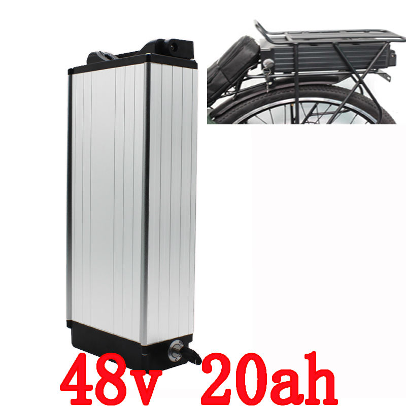Electric Bike battery 48V 20AH 1000W Rear Rack battery 48V 20AH Lithium ion battery With Tail light 30A BMS 54.6V 2A charger free customes taxes 48v 2000w electric bike battery 48v 35ah lithium ion battery pack for electric bike with charger bms