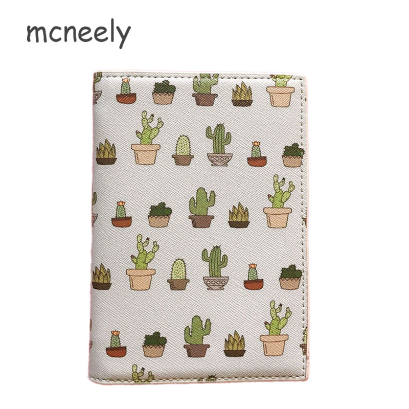 Mcneely Light Green Cactus Plants PU Leather Passport Cover Unisex Travel Passport Case Postcards Paspoort Cover Porta Pasaporte