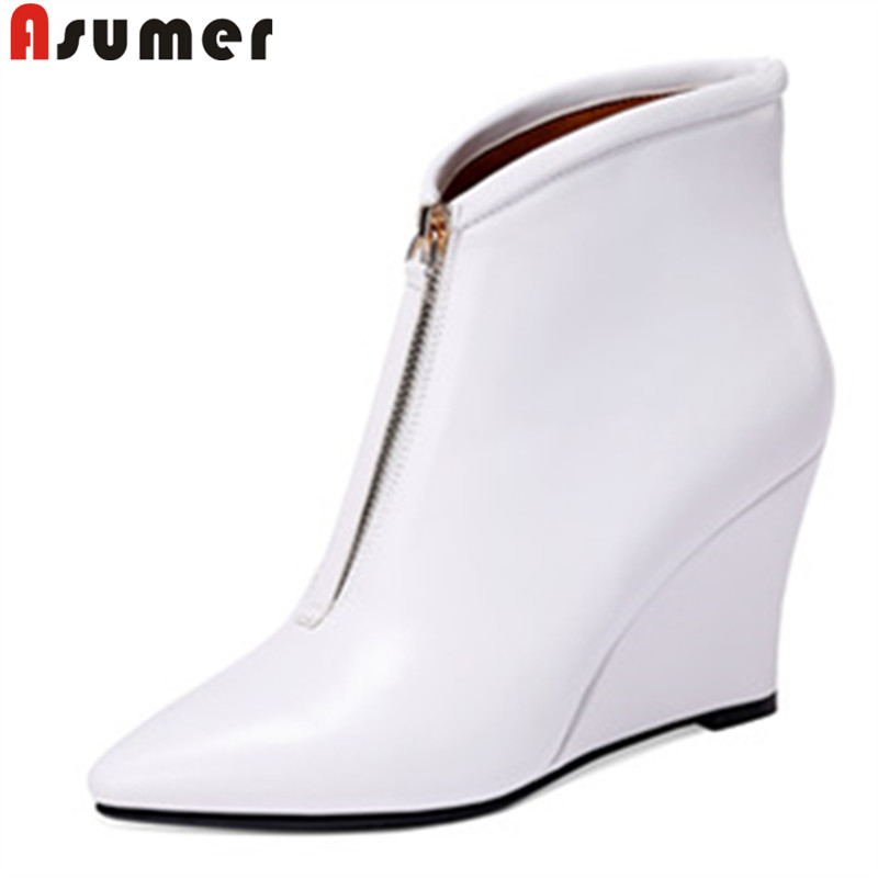 ASUMER white fashion ankle boots for women pointed toe zip genuine leather boots wedges ladies prom boots autumn winter boots women autumn winter wedges chunky heel height increase elevator genuine leather buckle zip fashion ankle boots 34 39 sxq0724