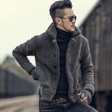 Men Winter warm padded furry slim casual jacket knitwear men plush collar woolen solid new design knitted fur cardigan