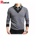 Free Shipping 2015 New Fashion Slim Men Sweaters Male Business Casual Pullover Two-Piece Knitwear Brand Men Clothing M/L/XL/2XL