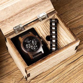 relogio masculino BOBO BIRD Men Watch Bracelet Set Wood Timepiece Chronograph Military Quartz Watch in Wooden Box Men\'s Gifts