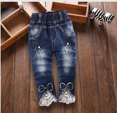 Meninas do bebê calças de Brim Macias Calças Moda Calças das Crianças Calças de jeans Infantil Denim Macio