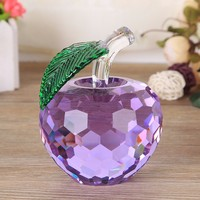 55mm Faceted Crystal Apple Figurines Miniatures Glass Fruit Crafts Paperweight Gift Home Decoration Wedding Souvenir Match