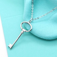 Brand Design Key Pendant Necklace Women 100% Pure Sterling Silver 925 Brief Sweet Ladys Jewelry Free Chain Elegant Gifts