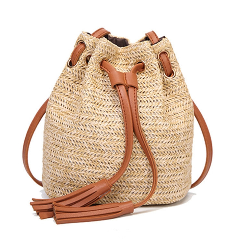 Ladies Straw Bag For Women Shoulder Bag Casual Crossbody Handbags Mini Knitting Package Fringed Woven Bucket Bag Pouch Hot Sale in Shoulder Bags from Luggage Bags
