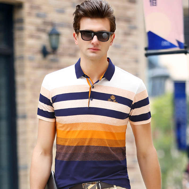 738150fb0af8e ... 2018 New Mens Polo Shirts Short Sleeve Summer Men s Casual Polo Male  Striped Shirts Fit Slim ...