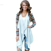 Women Cardigan 2015 Casual Knitted Kimono Cardigan Long Sleeve Vintage Patchwork Air Conditioning Outwear Tops Women