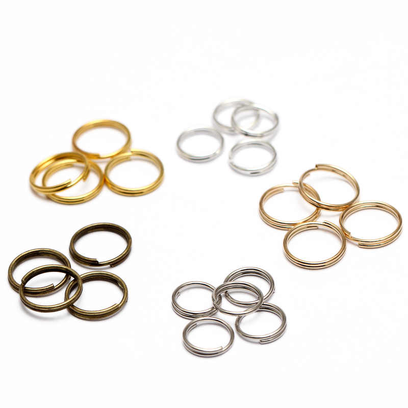 200pcs/lot 5 6 7 8 10 12 14 mm key chains Open Jump Rings Double Loops Gold Color Split Rings Connectors For Jewelry Making