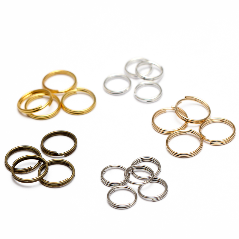 50Pcs Stainless Steel Fishing Double Split Ring Oval Loop Connector 8//15//19mm