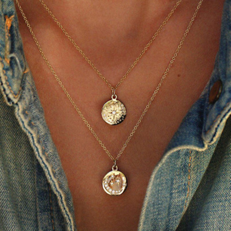 Tocona Boho Star Moon Necklace Double Layered Necklace Gold Chain Choker Coin Necklace Women Accessories Collares Femme 6176