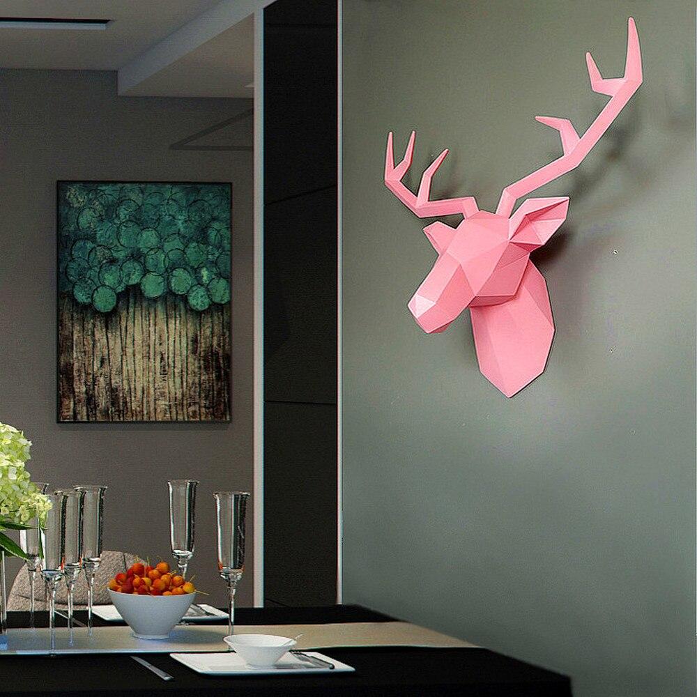 Нордическая голова оленя, Настенное подвесное украшение для гостиной, настенное украшение в виде животного, трехмерный кулон в виде лося LM6011645py - 3