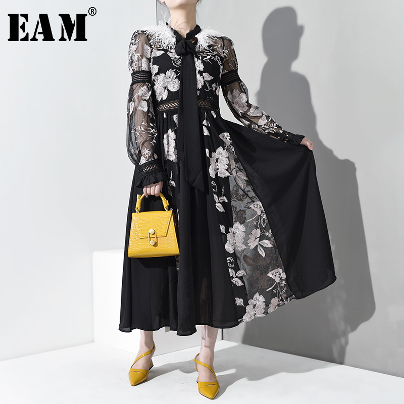 [EAM] 2019 New Autumn Winter Stand Collar Long Sleeve Feather Split Joint Perspective Loose Long Dress Women Fashion Tide WD3550
