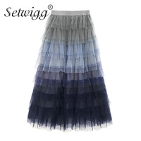 SETWIGG Super Fashion Gradient Blue Tiered Mesh A line Long Spring Skirts Waist Band Sweet Puff Layered Tulle Calf Summer Skirt