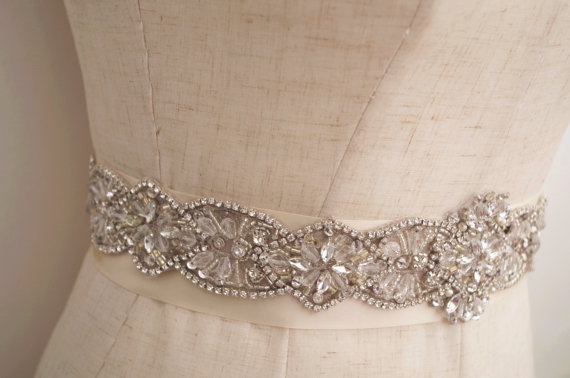 silver crystal sash applique, rhinestone applique, rhinestone sash