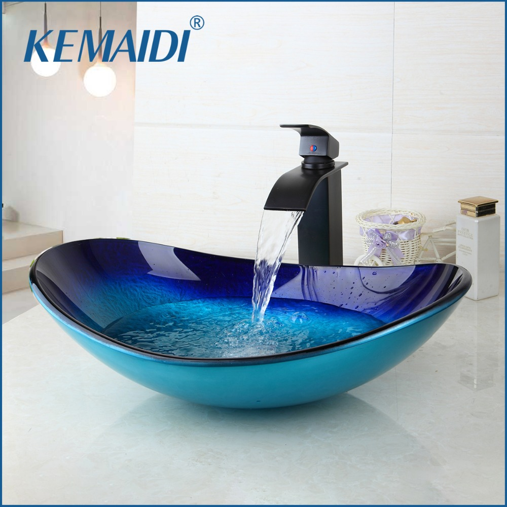 KEMAIDI Waterfall Spout Basin Black Tap+Bathroom Sink Washbasin Tempered Glass Hand-Painted With Oil Rubbed Bronze Finish Faucet kemaidi new arrival bathroom waterfall washbasin lavatory tempered glass basin sink combine vessel vanity tap mixer faucet