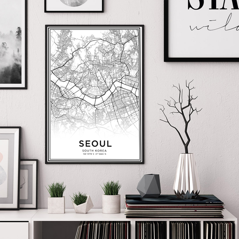 Latitude Longitude Seoul City Map Prints South Korea Travel Wall Art Canvas Paintings Black and White Poster Pictures Home Decor