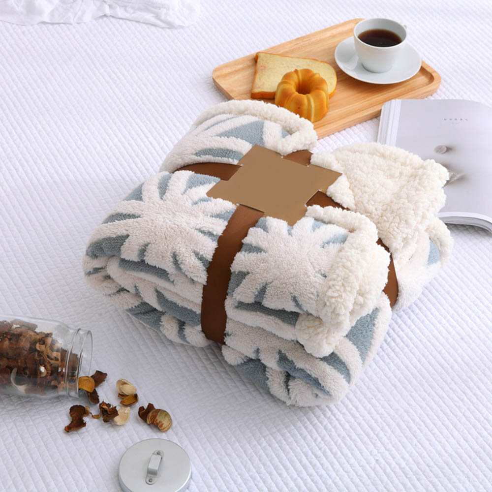 100% Cotton Jacquard Knitted Blankets Double soft Fleece Lambskin Throw Blanket Bed Plan ...