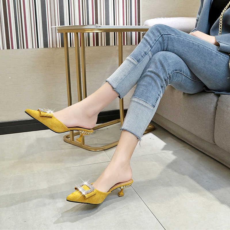 Nữ Con La Dép Mũi Nhọn Khóa Đính Kim Cương Giả Dép Sandal Thời Trang Đàn Chắc Chắn Giày Mùa Hè Giày Cho Nữ