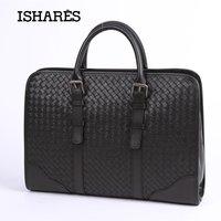 ISHARES Genuine Leather Handbag Calf Craft Business Briefcase High Quality Commercial Computer Messenger Woven Bags IS3179