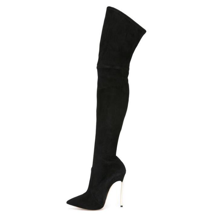 Hot Selling Over Knee Boots Womens Pointed Toe Blade Heels Black Suede Stretch Boots High Winter Thigh High Boots For Plus Hot Selling Over Knee Boots Womens Pointed Toe Blade Heels Black Suede Stretch Boots High Winter Thigh High Boots For Plus