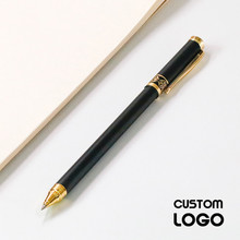 1pc Black Metal Signature Pen Retro Business Gel Pen Student Stationery Matte Office Writing Pens Private Custom Lettering Gifts