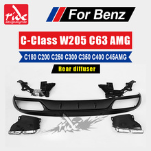 For Mercedes Benz W205 ABS rear diffuser with exhaust tip c class W205 amg package C180 C200 C250 C300 C350 C63 45AMG 2015-2018 стоимость