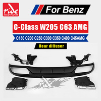 For Mercedes Benz W205 ABS rear diffuser with exhaust tip c class W205 amg package C180 C200 C250 C300 C350 C63 45AMG 2015 2018