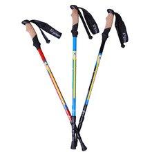 NEW Outdoor Hiking Camping sticks three straight shank telescopic cane carbon fiber super light Stright Grip Handle