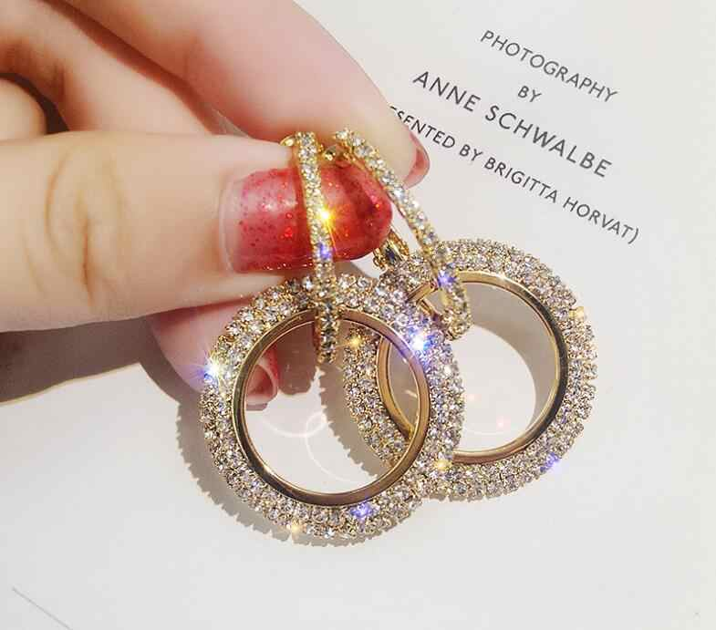 925 silver needle rhinestone circle long earrings fashion earrings European and American earrings female