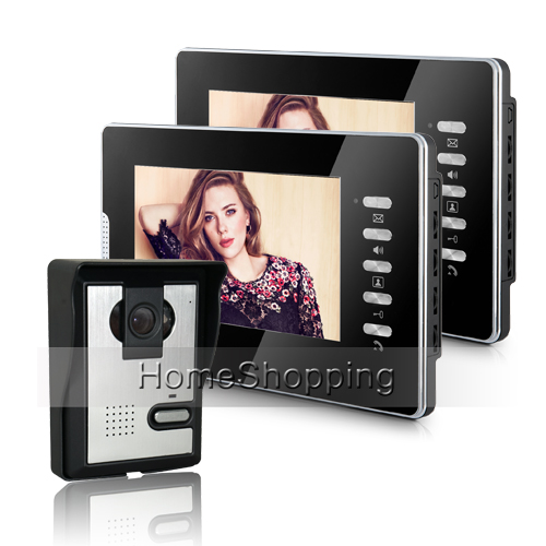 FREE SHIPPING NEW 7 Color Screen Video Intercom Door Phone Unlock System With 2 Monitor 1 Night Vision Doorbell Camera In Stock 7 inch video doorbell tft lcd hd screen wired video doorphone for villa one monitor with one metal outdoor unit night vision