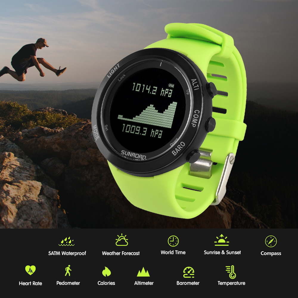 SUNROAD Sports Watch Altimeter Barometer Thermometer Compass Heart Rate Monitor Pedometer Digital Running Climbing Smart Watch