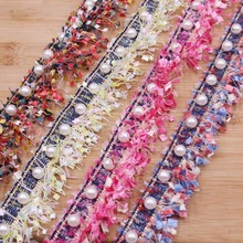 1 Yard Vintage Nylon Pearl Beaded Embroidered Tassels Lace Trim Ribbon Fabric Handmade DIY Costume Dress Sewing Supplies Craft